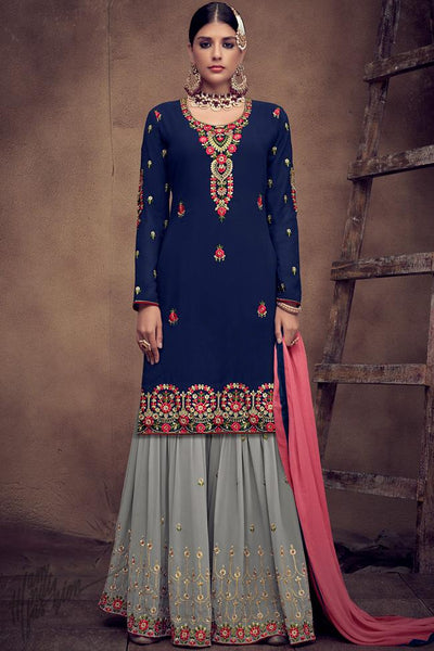 Blue and Gray Georgette Palazzo Suit