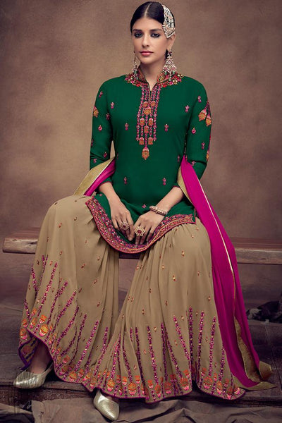 Green and Beige Georgette Palazzo Suit