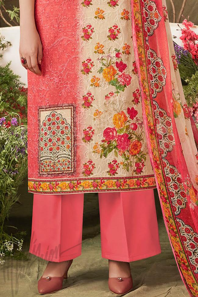 Indi Fashion Peach Dual Tone Cotton Straight Suit with Palazzo Pants