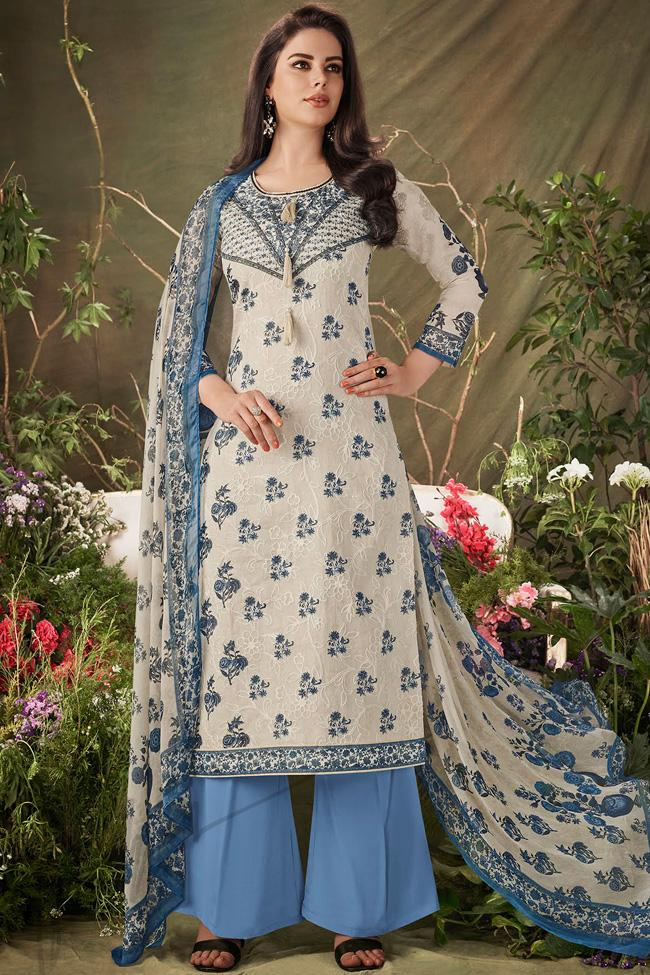 Indi Fashion Blue and Off White Cotton Straight Suit with Palazzo Pants