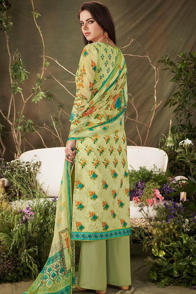 Indi Fashion Lemon Green Cotton Straight Suit with Palazzo Pants
