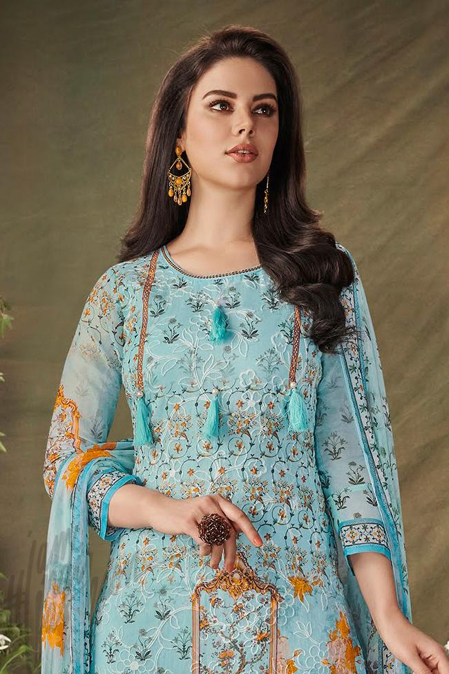 Indi Fashion Blue Cotton Straight Suit with Palazzo Pants