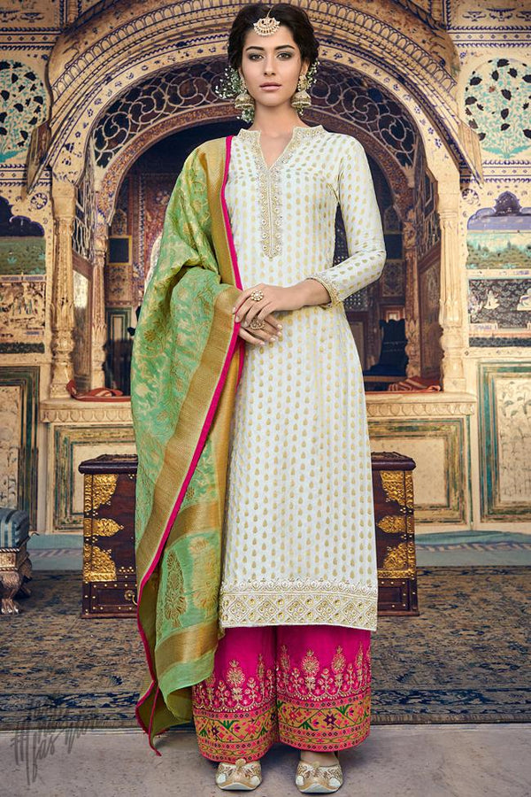 White Hot Pink and Green Banarasi Jacquard Suit