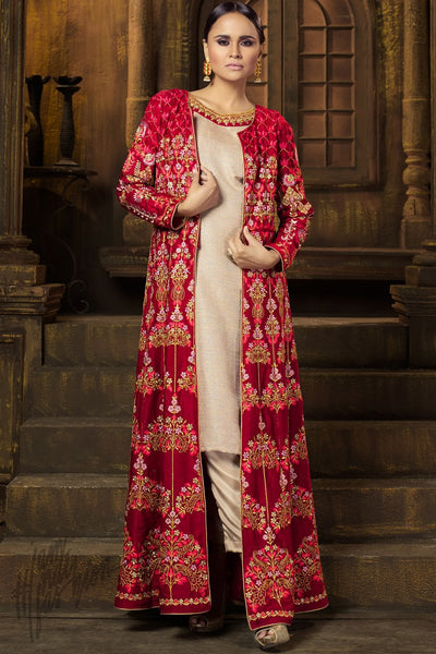 Indi Fashion Red and Beige Raw Silk and Velvet Long Jacket Style Suit