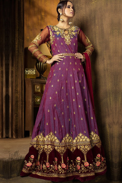 Indi Fashion Shaded Purple and Maroon Raw Silk and Net Anarkali Suit