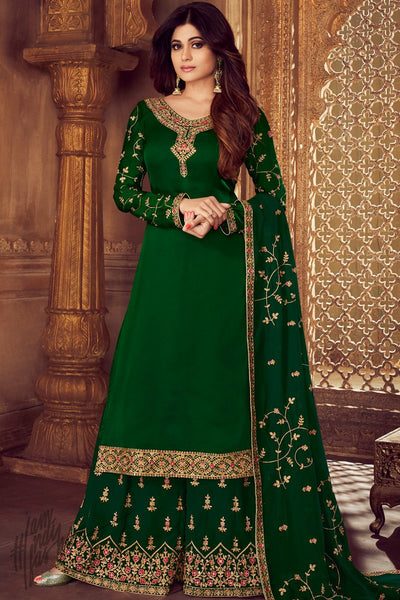 Green Georgette Satin Sharara Suit