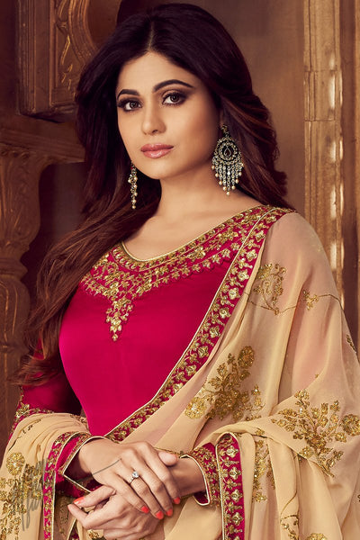Magenta and Beige Georgette Satin Sharara Suit