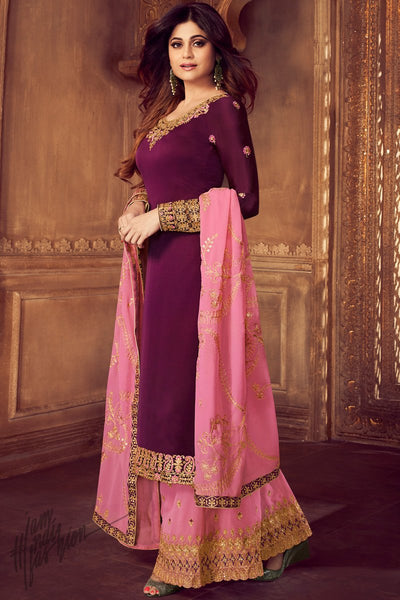 Wine and Pink Georgette Satin Sharara Suit