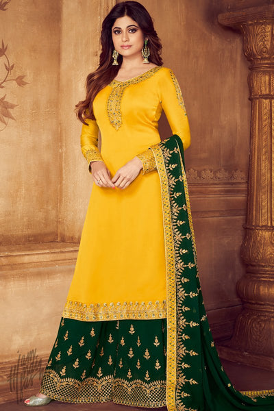 Yellow and Green Georgette Satin Sharara Suit