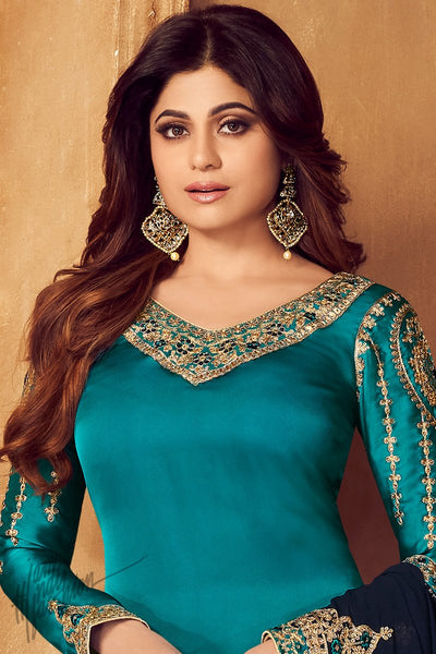 Turquoise and Navy Blue Georgette Satin Sharara Suit