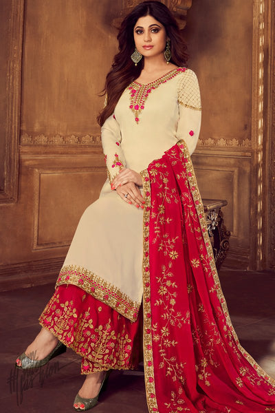 Cream and Red Georgette Satin Sharara Suit