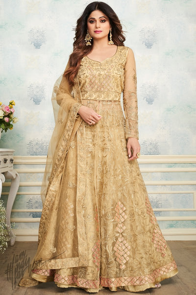 Pale Gold Heavy Butterly Net Lehenga Style Suit