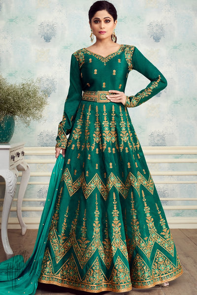 Green Mulberry Silk Anarkali Suit