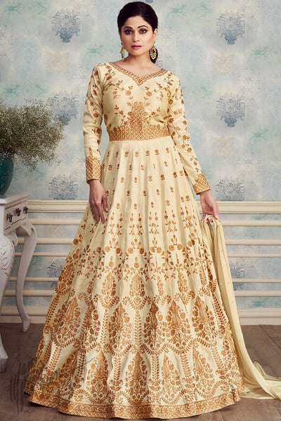 Off White Mulberry Silk Anarkali Suit