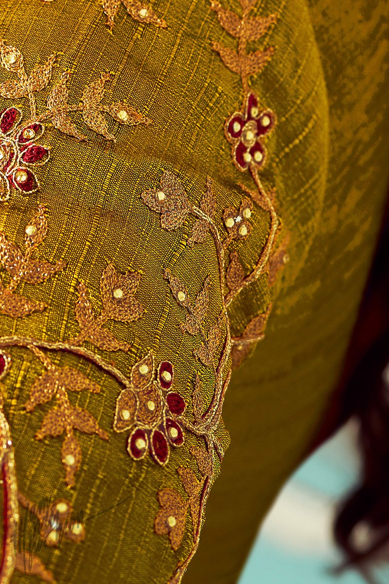 Olive Green Mulberry Silk Anarkali Suit
