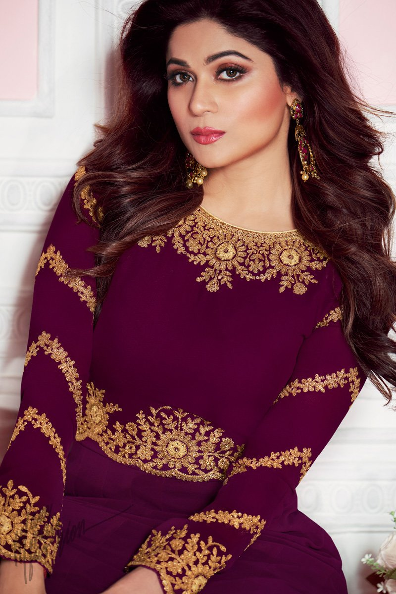 Wine Pure Georgette Anarkali Suit