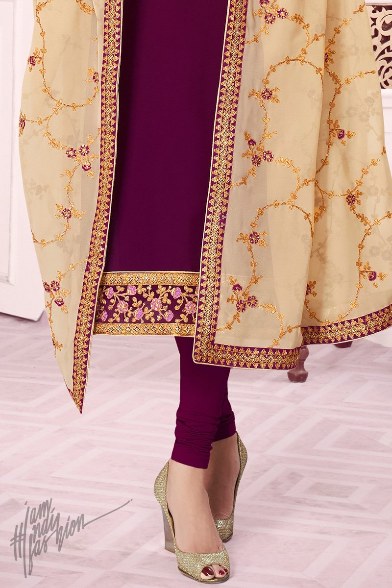 Wine and Cream Pure Georgette Straight Suit