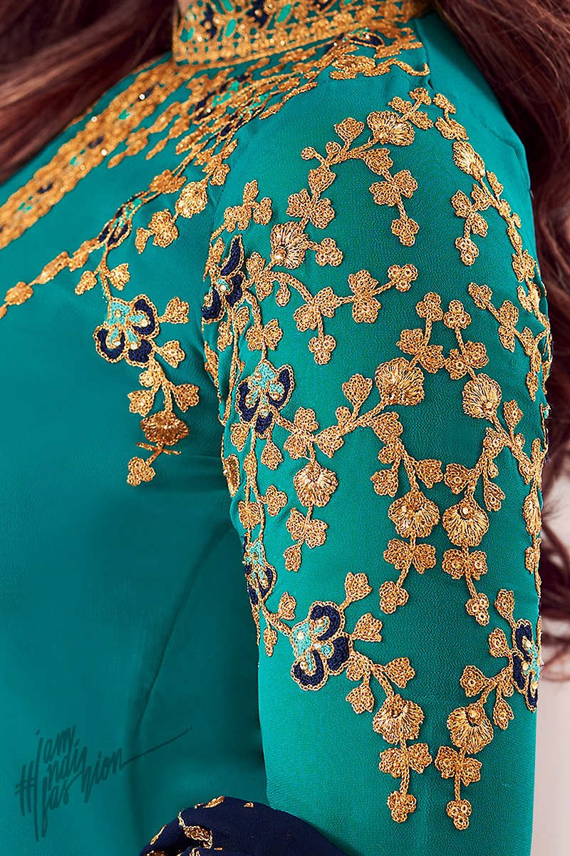 Turquoise and Navy Blue Pure Georgette Straight Suit
