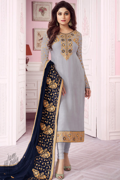 Light Grayish and Navy Blue Pure Georgette Straight Suit