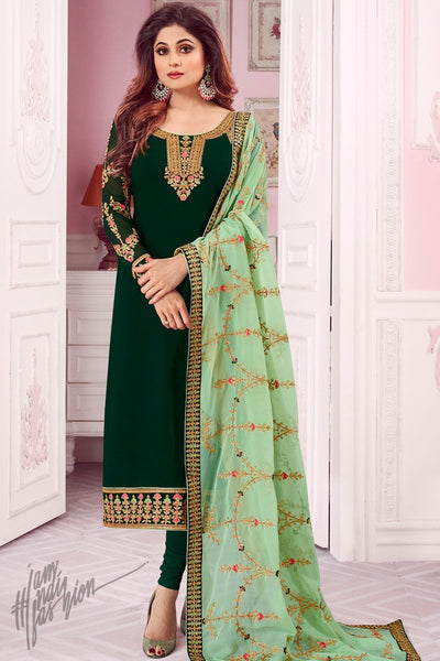 Bottle and Mint Green Pure Georgette Straight Suit