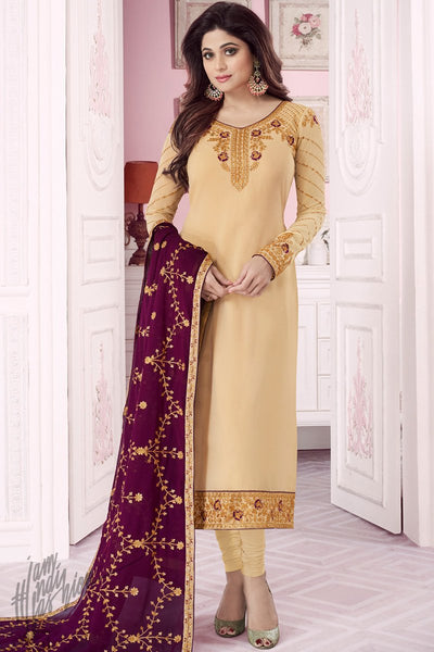 Cream and Wine Pure Georgette Straight Suit