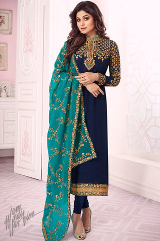 Navy and Turquoise Blue Pure Georgette Straight Suit