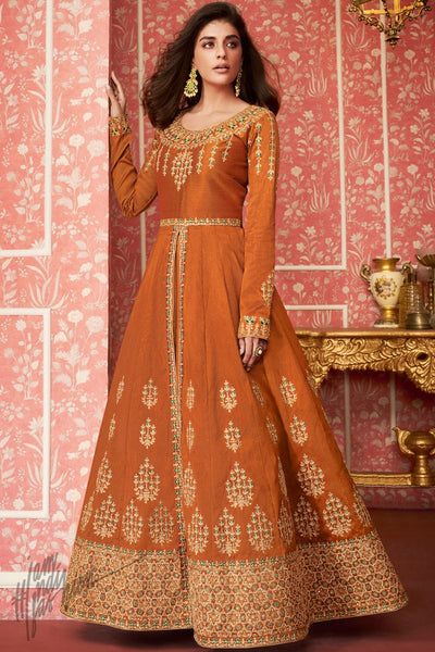 Squash Orange Dual Tone Silk Lehenga Style Anarkali Suit