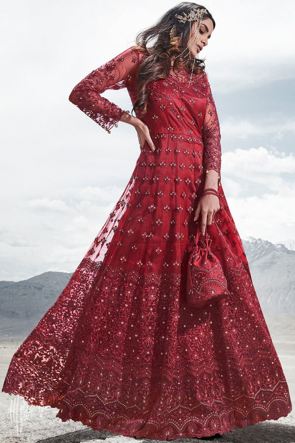 Red Net Wedding and Party Wear Anarkali Suit with Potli Bag