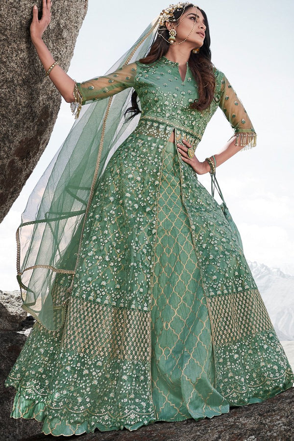 Pista Green Wedding and Party Wear Lehenga Style Suit with Potli Bag