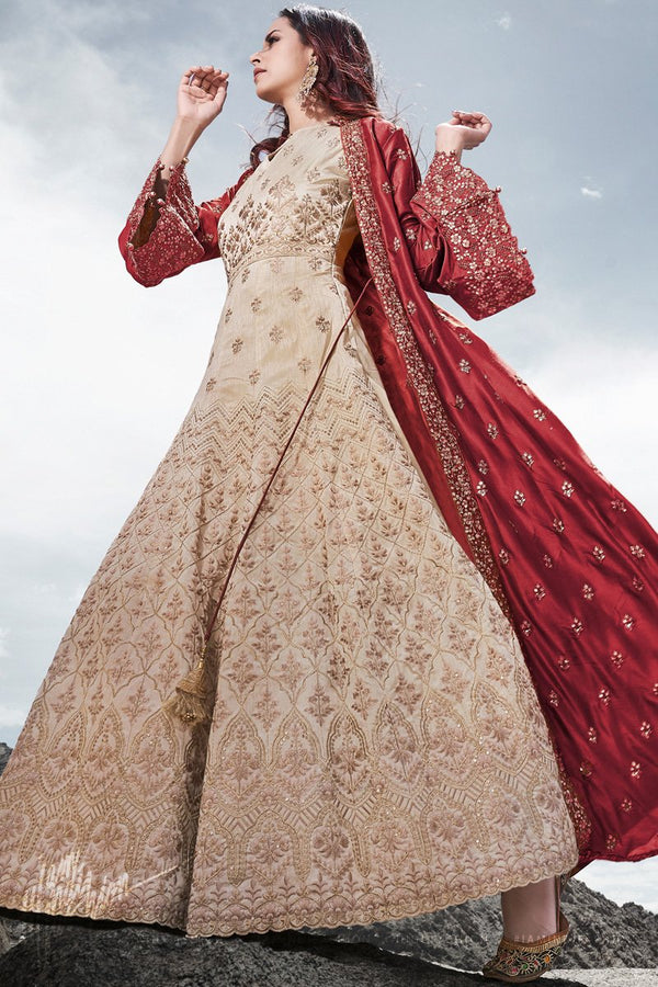 Beige and Maroon Wedding and Party Wear Jacket Style Suit with Potli Bag