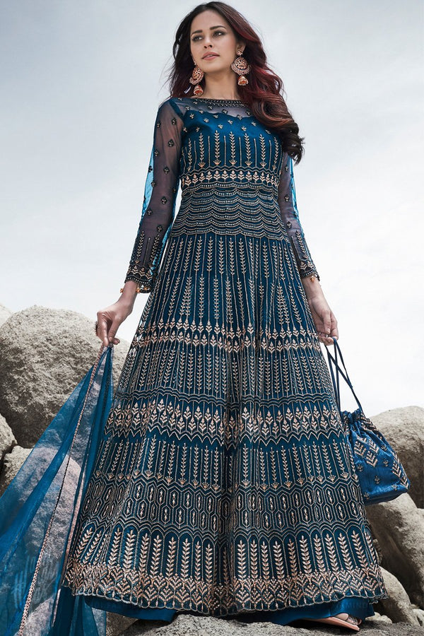 Blue Wedding and Party Wear Anarkali Suit with Potli Bag