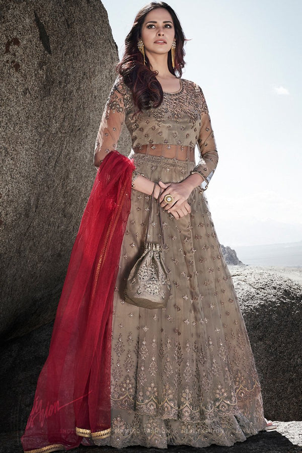 Beige Wedding and Party Wear Lehenga Style Suit with Potli Bag