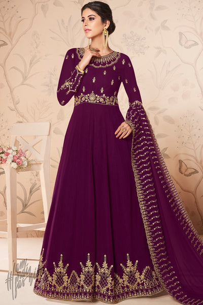Jam Purple Georgette Anarkali Suit