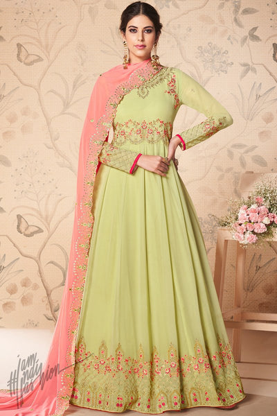 Pastel Green and Baby Pink Georgette Anarkali Suit