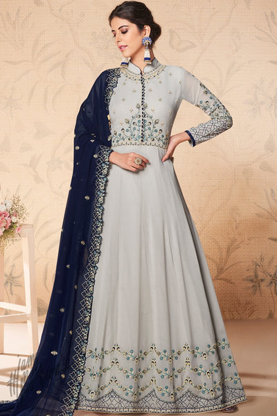 Ash Gray and Midnight Blue Georgette Anarkali Suit