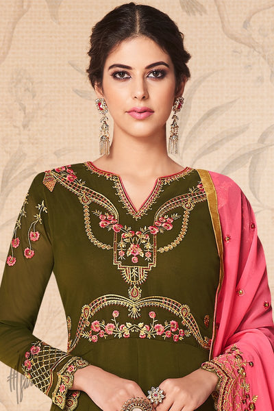 Dark Olive and Pink Georgette Anarkali Suit