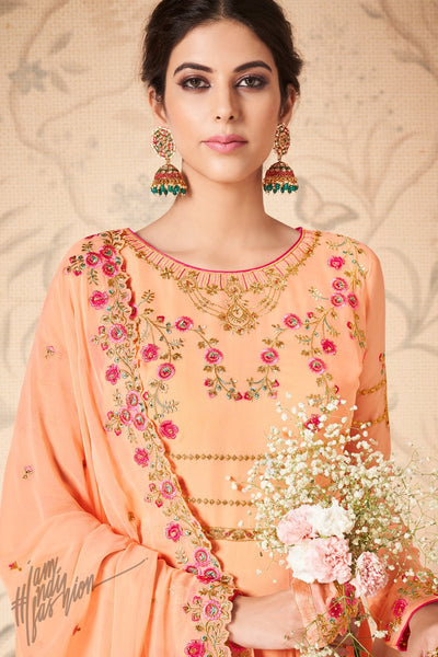 Light Peach Georgette Anarkali Suit