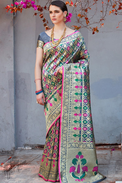 Gray Brocade Silk Saree