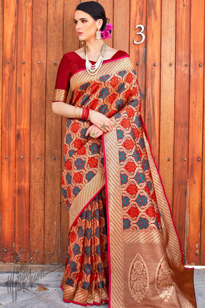 Maroon Brocade Silk Saree