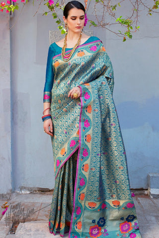 Royal Blue Brocade Silk Saree