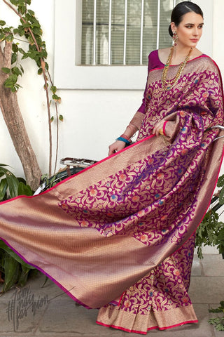 Magenta Brocade Silk Saree