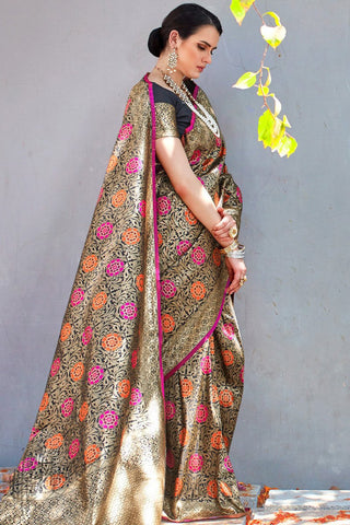 Black Brocade Silk Saree