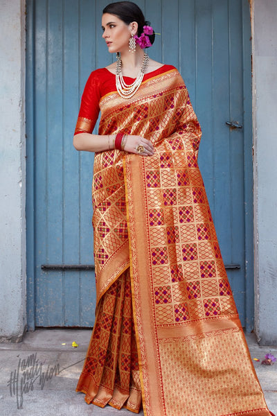 Red and Maroon Brocade Silk Saree