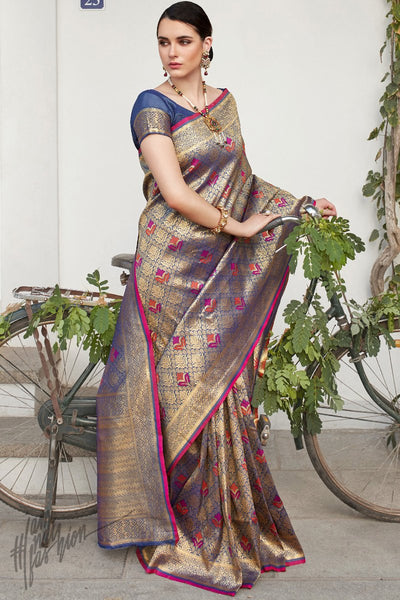 Salet Blue Brocade Silk Saree