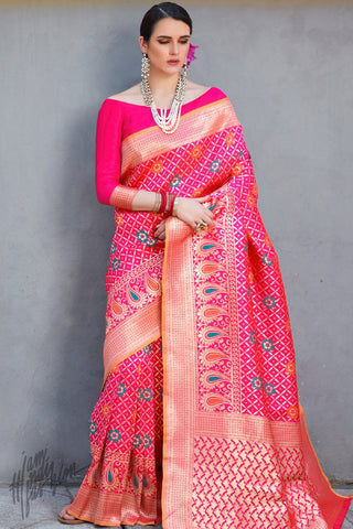 Hot Pink Brocade Silk Saree