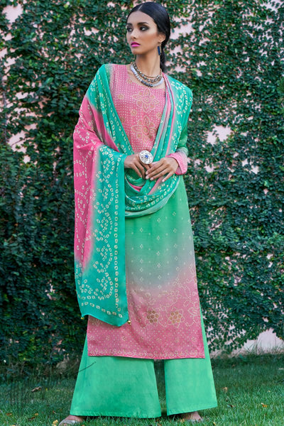 Pink and Green Shaded Cotton Silk Palazzo Suit