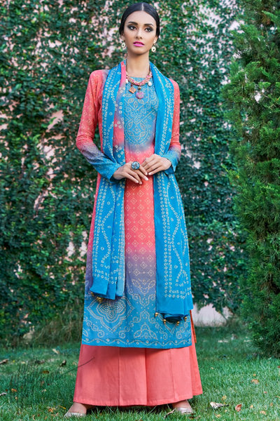 Blue and Peach Shaded Cotton Silk Palazzo Suit
