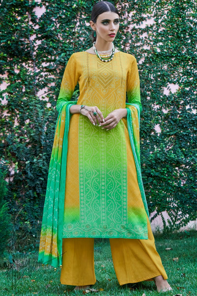 Yellow and Green Shaded Cotton Silk Palazzo Suit