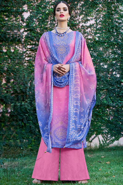 Blue and Pink Shaded Cotton Silk Palazzo Suit