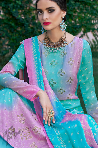 Teal and Pink Shaded Cotton Silk Palazzo Suit